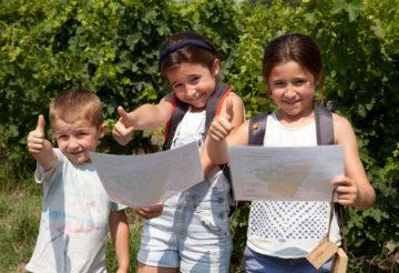 enfants jouant dans les vignes