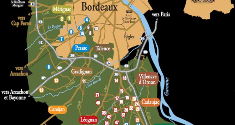 carte des communes du vignoble de pessac-léognan