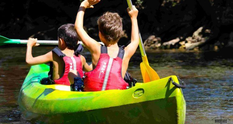 photos de jeunes en canoe sur le ciron