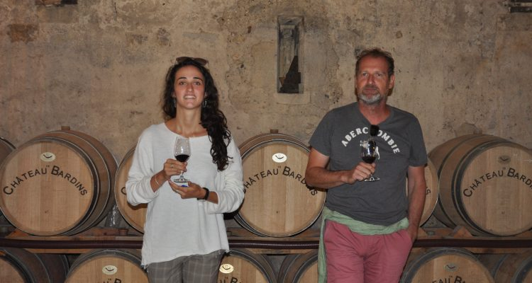 tasting wine on barrels