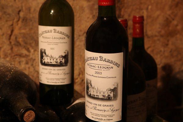 photos de bouteilles de chateau bardins
