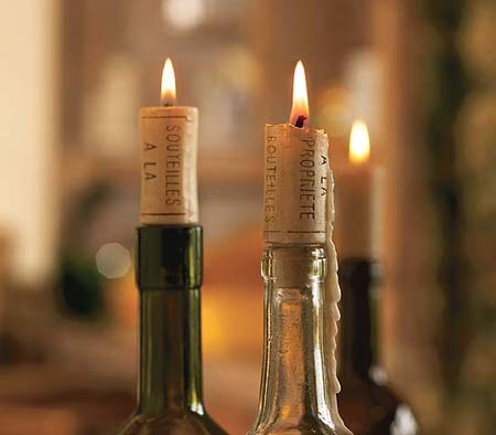 bougies sur bouteilles