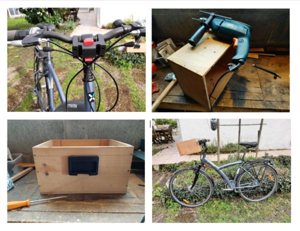 montage d'une caisse de vin en bois sur un vélo